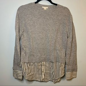 H&M gray sweater with shirt lining